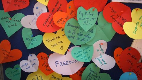 Colourful hearts with positive messages