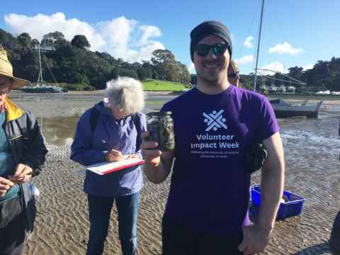 Collecting microplastic samples at Little Shoal Bay, Northcote