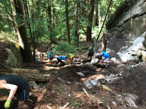 Trail building day at Murrin Provincial Park, Vancouver