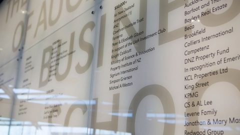 5ec3552b833c3 Part of the  donor wall  in the Sir Owen G Glenn Building