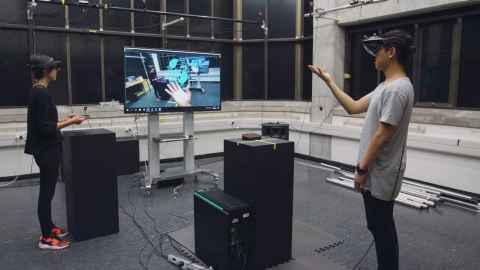 Students inside an augmented reality studio
