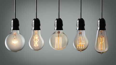 Five hanging lightbulbs