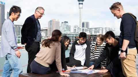 Urban Planning students on a field trip in Auckland
