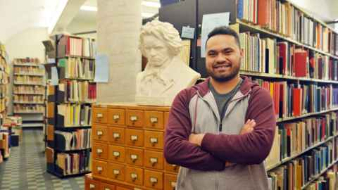 Manase Latu inside the music library