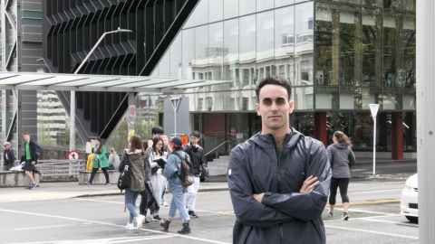 Nate Saluni in front of Symonds Street campus