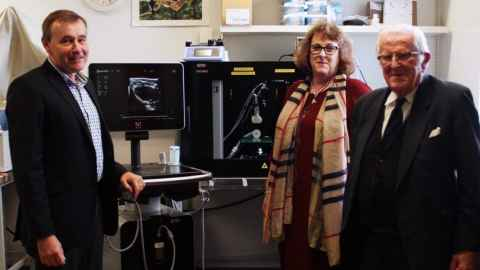Professor Julian Paton and AH Somerville Foundation trustees Anne Chamley and Jim Chamley are thrilled with initial results from the Vevo 3100 machine, pictured.