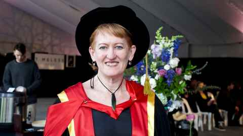 Dr Frances Hancock in her PhD regalia at her graduation