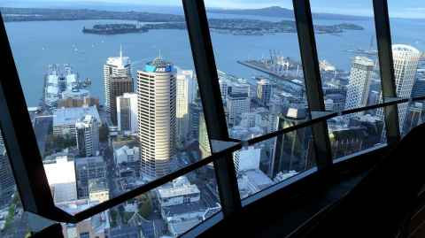 Looking down on Auckland's waterfront and Bledisloe wharf (centre, right), site of the proposed 'free' city stadium.