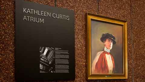 Kathleen Curtis portrait and plaque unveiled at the Kathleen Curtis Atrium naming ceremony November 2018