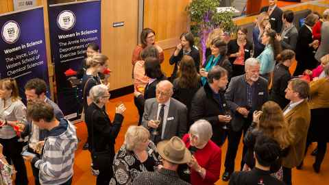 Special guests and alumni at the Kathleen Curtis Atrium naming ceremony November 2018