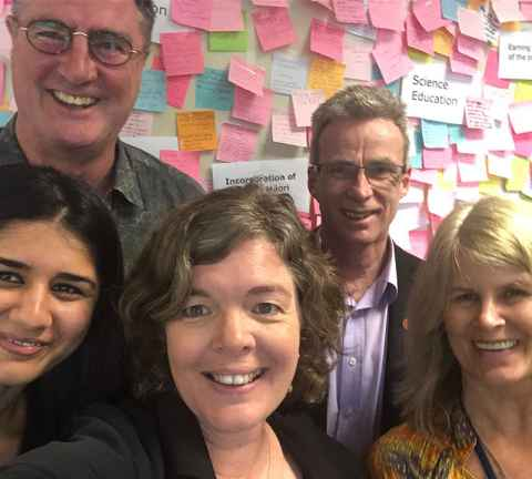 Juliet Gerrard and team with sticky notes