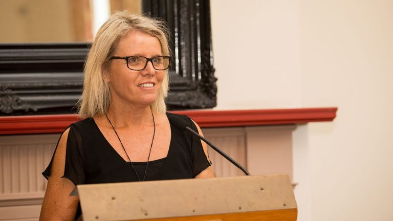 Public Policy Institute director Professor Jennifer Curtin welcoming delegates at Old Government House.