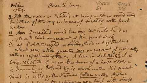 Image shows Joseph Banks' handwriting from a journal kept during the first voyage of Captain Cook. 1769-1770.