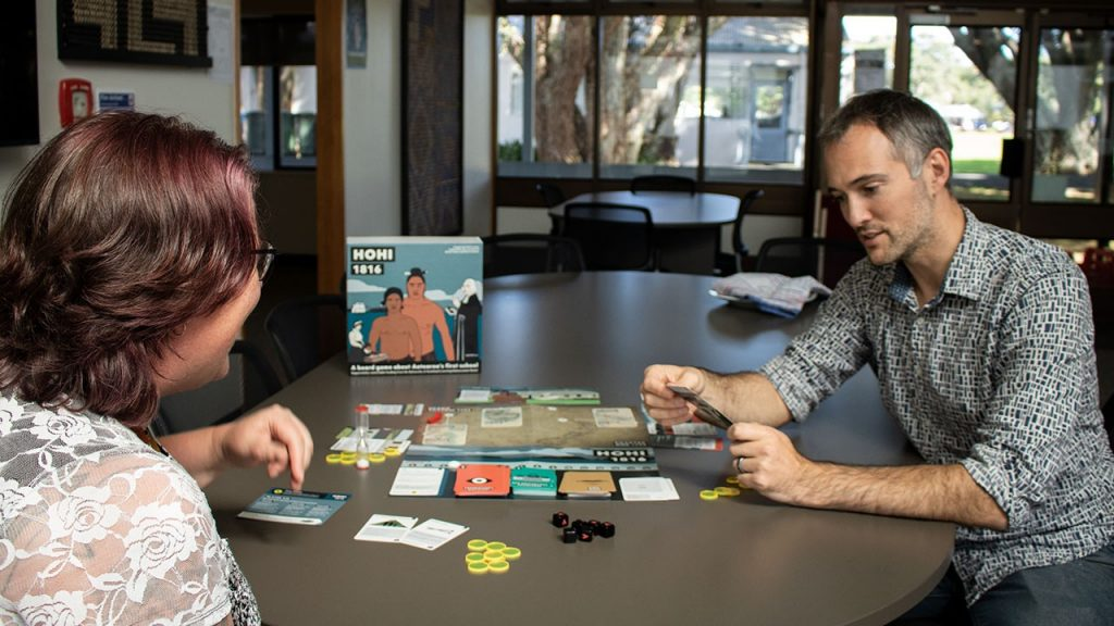 Ruth Lemon and Richard Durham give their game, Hohi 1816, a test run.