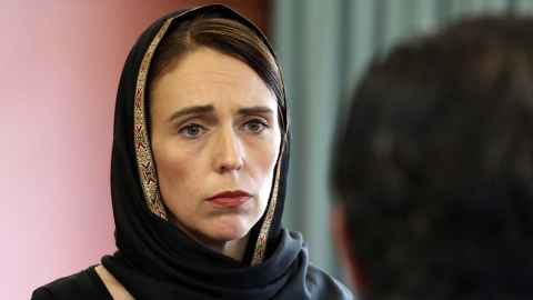 Prime Minister Jacinda Ardern wearing a headscarf following the Christchurch terror attacks.