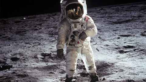 Buzz Aldrin is pictured on his moon walk, in the footsteps of Neil Armstrong, this day 50 years ago.
