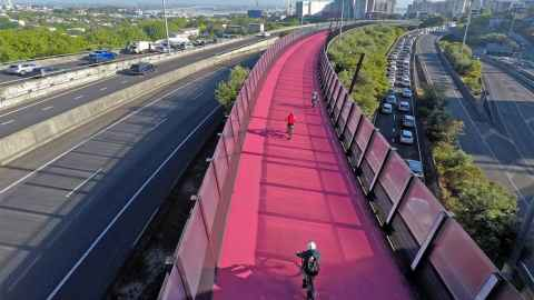 Auckland's pink Nelson Street Cycleway is pictured: having a separate cycleway for the whole of their journey is the number one consideration for the city's cycling commuters. Photo: iStock