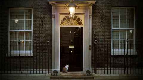 The doorway of No 10 Downing Street is pictured, home of the UK's new Prime Minister Boris Johnson who will lead what Neal Curtis says is a changing form of government.