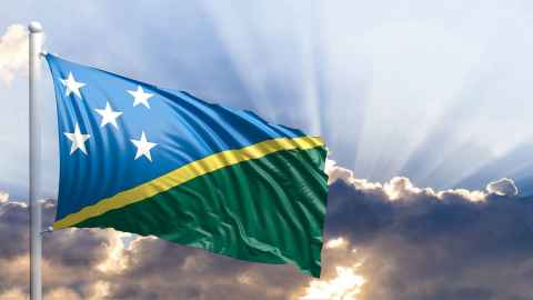 The Solomon Islands flag is pictured, 'flying' for the People's Republic of China in a diplomatic switch from the Republic of China (Taiwan). Photo: iStock