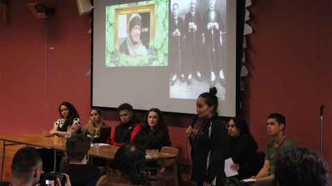 SOUL's principle leader Pania Newton is pictured speaking at the University of Auckland, a guest of students who invited her to an event they organised.