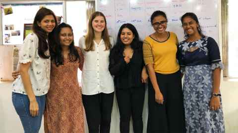 Lucy Redwood, third from left, with her co-workers at an NGO called Atma in Mumbai, India.