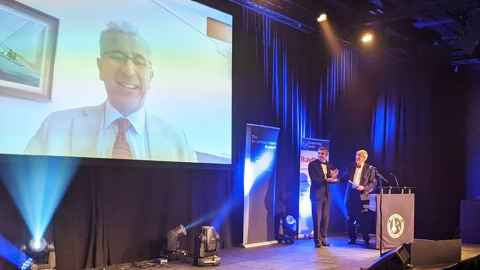 Professor Aglietti Skypes in to the British Interplanetary Society Gala dinner in Belfast on 14 November where his Arthur C Clarke award was collected for him
