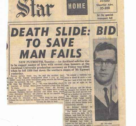 The Auckland Star article about the death of Glen Silvester in 1965.