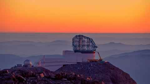 LSST at sunset, Cerro Pachón, Chile. Photo: W O'Mullane/LSST Project/NSF/AURA