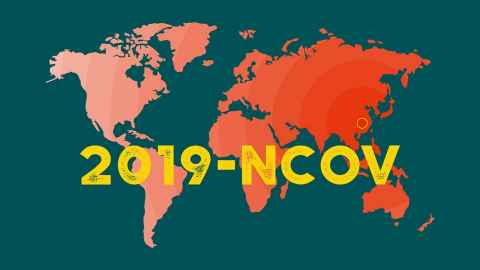 An image shows a world map graded in shades of red on a green background with the words 2019-NCOV printed across in yellow