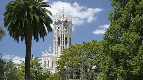 The University of Auckland's iconic ClockTower is pictured: The student is doing her masters at the university - but those plans are on hold thanks to coronavirus. Photo: University of Auckland