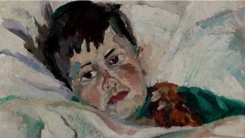 The photo shows a painting of a boy lying in bed: Anne Hamblett, Portrait of Matthew Hamblett, c. 1934, oil on canvas,  private collection. Photo: Supplied and cropped