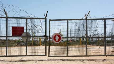 A border gate on the Palestine-Israeli border is pictured: Coping with restrictions, curfews and closures on the Israeli-occupied West Bank has provided Nicholas Rowe with invaluable experience to help staff working in lockdown. Photo: iStock