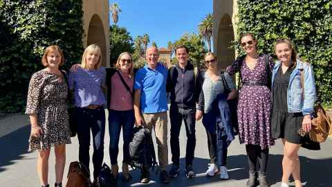 L–R: Kate MacKrill, Mel McKenzie, Stanford's Assistant Professor Alia Crum, Professor Keith Petrie, Walter Bierbauer, Sarah Rankin, Rachael Yielder and Brooke Reeves at Stanford in February.