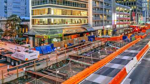 A photo shows CRL construction at the corner of Albert Street and Wyndham Street in Auckland CBD. Photo: City Rail Link Ltd (cityraillink.co.nz)