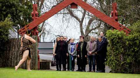 VC and guests welcomed at the gates of the Waipapa Marae