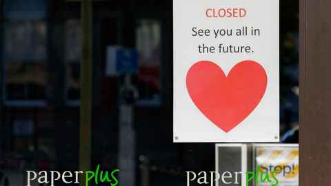 The image shows a closed sign on an NZ high street retailer: How many times can NZ shut up shop? Photo: iStock