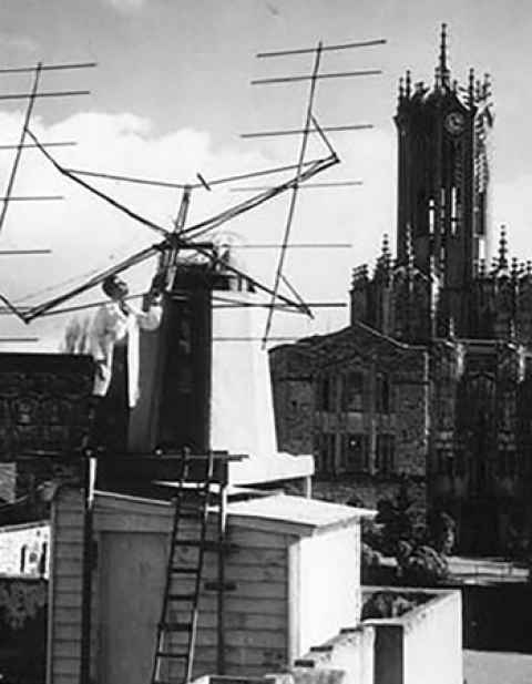 Alan Maxwell with his radar antenna atop the Biology Building in 1947.