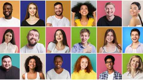 The image shows individual photos of the smiling faces of young adults in their 20s of different ethnicities in rows. Photo: iStock