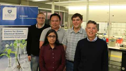 From left: Associate Professor Jon Sperry, Dr Ivanhoe Leung, Dr Viji Sarojini, Dr Cameron Weber and Professor James Wright.