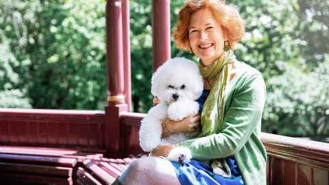 Professor Helen Sword with her dog Freddie.