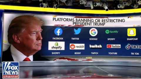 The image is a screenshot taken from the Fox News Channel which has a head shot of Trump on the left and a list of the social media platforms from which he is banned.