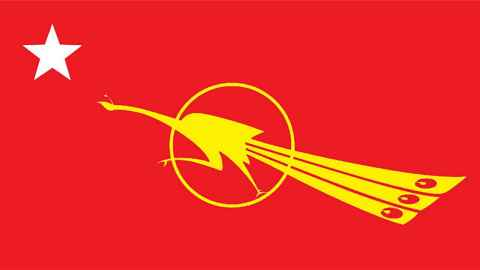 The image shows a red flag with a gold fighting peacock in the centre, a symbol of student activism, democracy and resistance since colonial times. Photo: Wikicommons