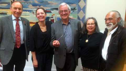 The pen was gifted to the Auckland Museum in 2015. From left, Roy Clare, Nina Seja, David Williams (with the pen), Marilyn Kohlhase and Tigilau Ness.