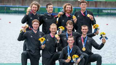 Michael Brake, back row, second from left, with the gold-medal winning men's 8 from the Tokyo Olympics.