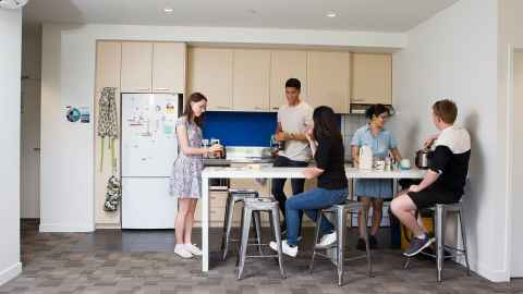 Carlaw Park Student Village four bedroom apartment kitchen