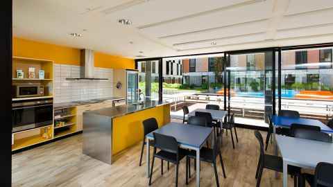 Carlaw Park Student Village communal kitchen