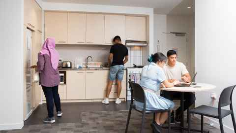 Carlaw Park Student Village three bedroom apartment kitchen
