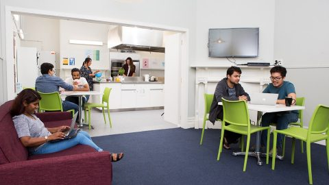 Grafton Student Flats communal kitchen and lounge at Carlton Pines