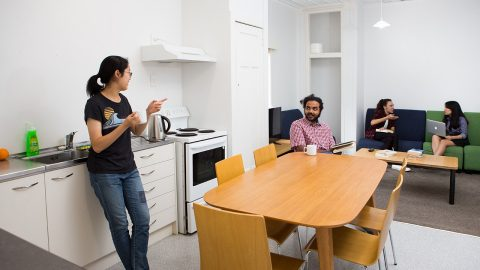 Grafton Student Flats kitchen and lounge at 62 House