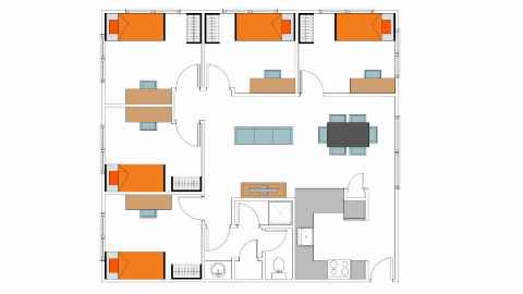 University Hall - Apartments layout